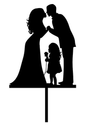 Wedding Couple and Child Acrylic Wedding Cake Topper