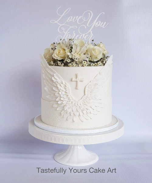Love you Forever Cake Topper in white acrylic