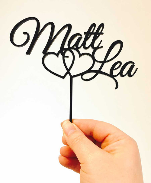 Personalised Commitment Hearts with names wedding cake topper - Commitment hearts wedding cake decoration