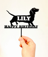 Daschund dog with name cake topper