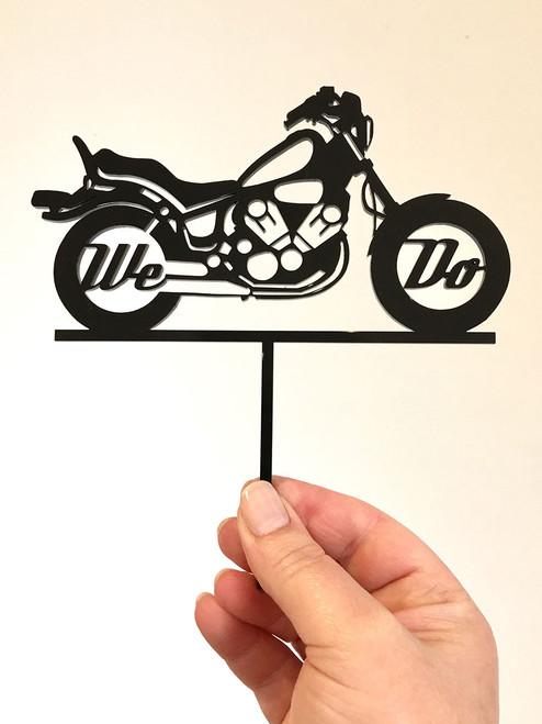 We Do motorbike wedding cake topper decoration - Motorbike theme wedding decorations featuring chopper styled bike