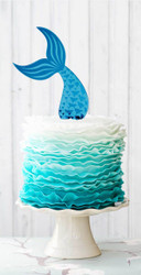 Blue Mermaid Mirror Acrylic tail cake topper for Mermaid Cake. Made in Australia