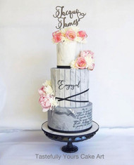 Beautiful custom wedding cake toppers with two names - wedding or engagement cake decoration