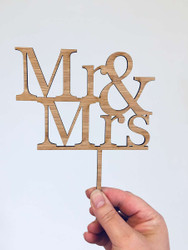 Mr & Mrs Wedding Cake Topper - Laser cut Mr and Mrs Wedding Cake Decoration. Made in Australia