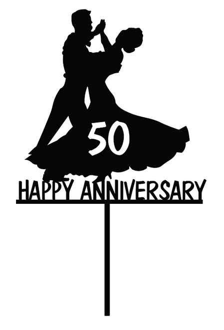 Anniversary Ballroom Dancing Couple cake topper - laser cut cake decoration