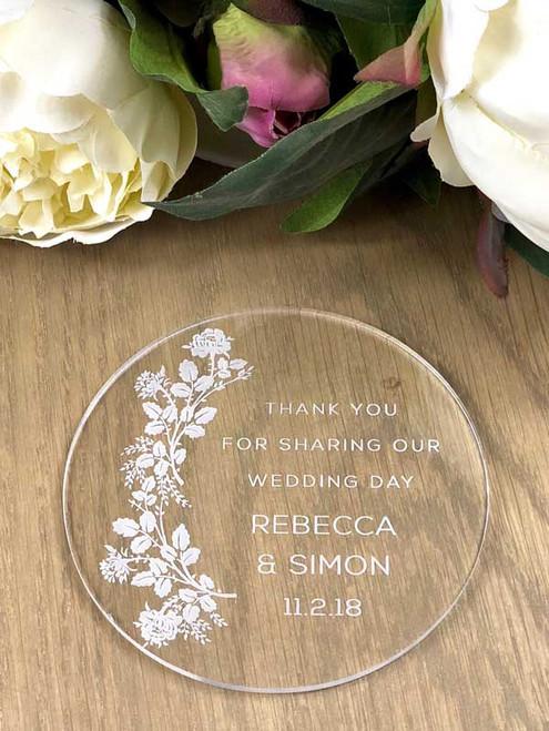 Custom personalised acrylic coasters wedding favours