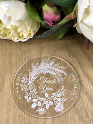 Beautiful personalised acrylic coasters wedding favours