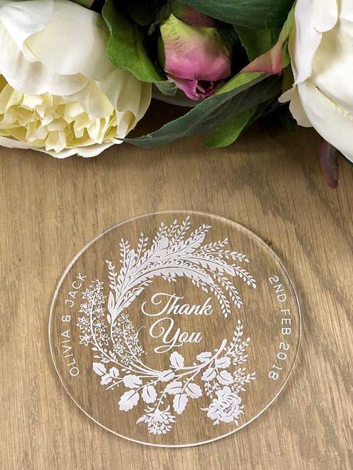 Beautiful personalised acrylic coasters wedding favours