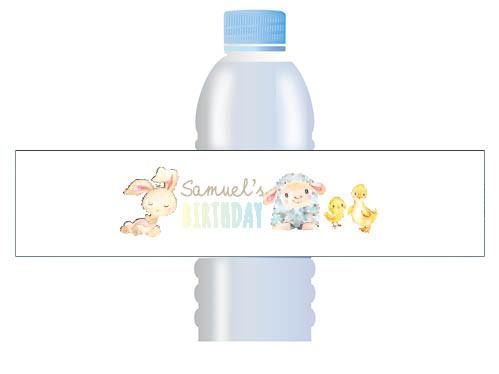 Farm Animals Custom Water bottle labels
