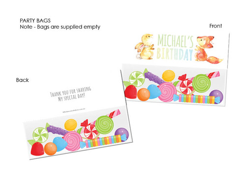 Fox & Bunny Party lolly bag toppers
