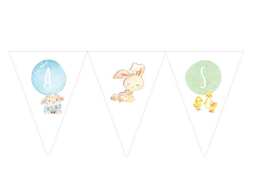 Farm Animals party flags bunting