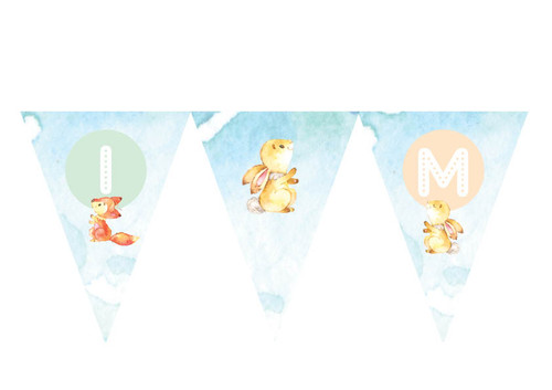 Fox & Bunny party flags bunting