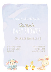 Baby shower invitations - baby animals theme in watercolour. Printed in Australia