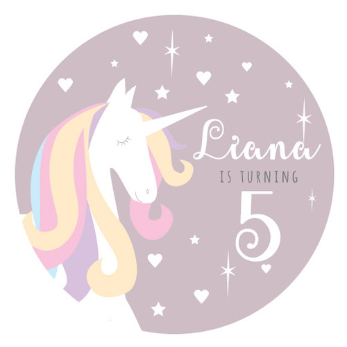Unicorn round party spot labels