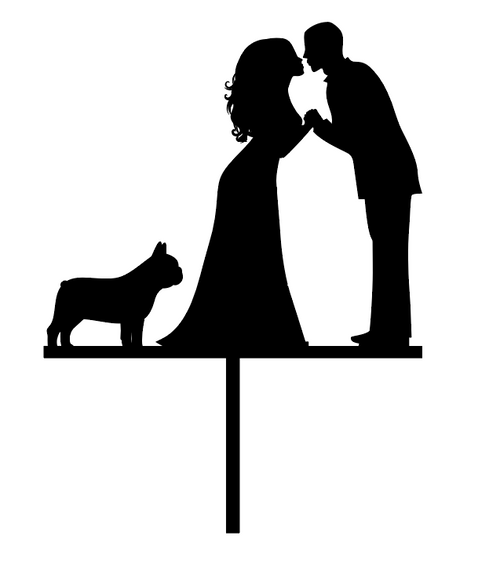Wedding Couple and French Bulldog  Wedding or Engagement Cake Topper Laser Cut in Australia