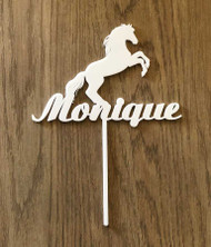 Horse with name acrylic cake topper