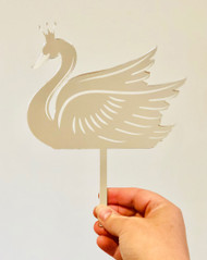 Princess Swan engraved mirror cake topper