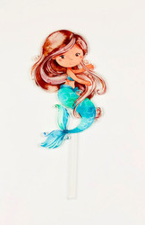 Mermaid cake topper or Mermaid birthday cake decoration. Made from printed Acrylic. Laser cut in Melbourne Australia