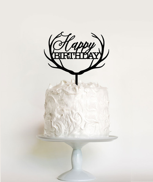 Reindeer Antlers Happy Birthday Cake Topper Decoration