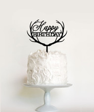 Reindeer Antlers Happy Birthday Cake Topper