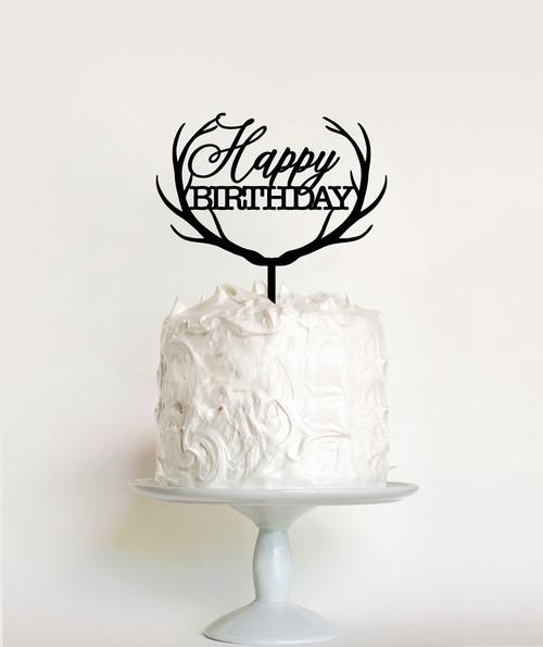 Reindeer Antlers Happy Birthday Cake Topper Decoration