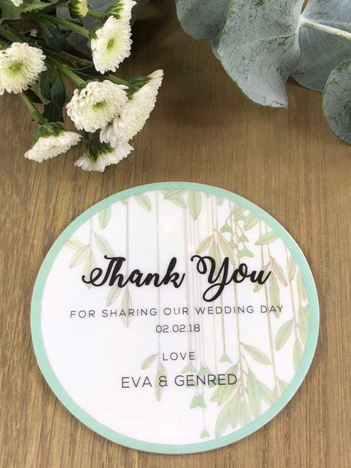 Personalised white acrylic printed wedding favour coasters