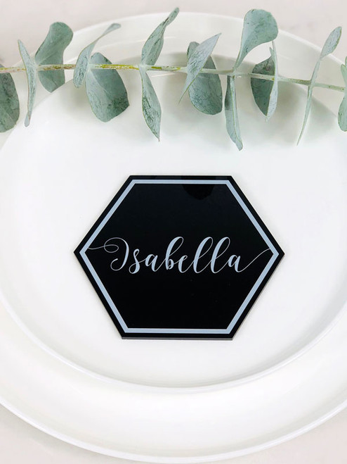 Hexagon printed acrylic table place cards for weddings, birthdays, christenings and other events. Laser cut in Australia