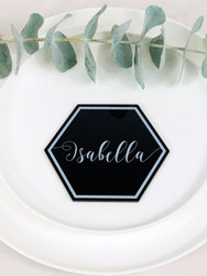 Hexagon printed acrylic table place cards. Laser cut from acrylic. Personalised with guests names.