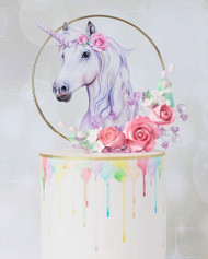 Unicorn birthday cake  topper - Unicorn birthday cake decoration. Laser cut printed acrylic made in Melbourne, Australia
