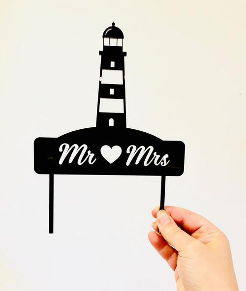 Custom Light House Wedding Cake Topper - Personalised lighthouse themed wedding or engagement cake decoraton