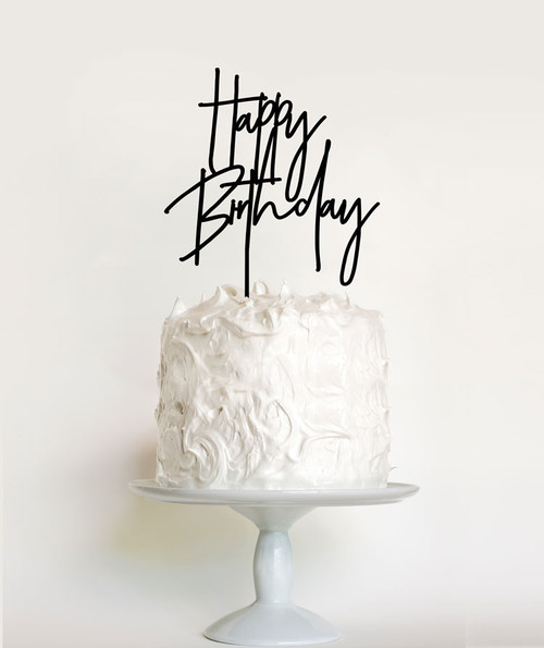Modern Happy Birthday Cake Topper or Cake Decoration