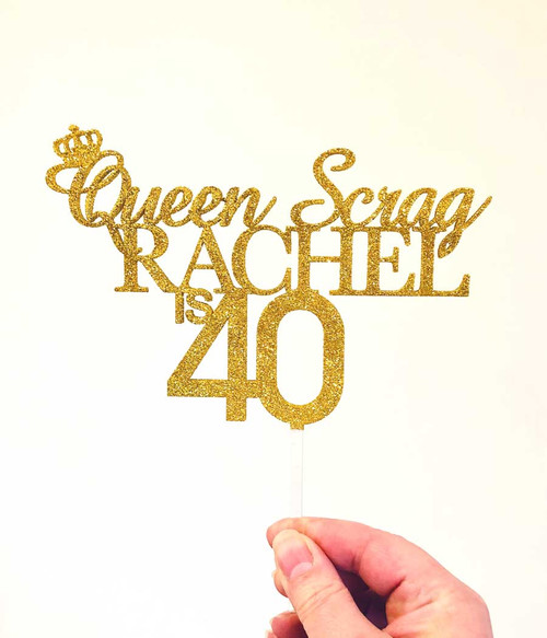 Queen Scrag birthday cake topper - Funny Personalised Birthday Cake Decoration. Laser cut in Melbourne Australia