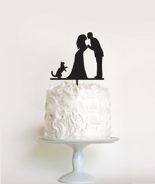 Wedding Couple and Cat cake topper - cat themed wedding cake decoration