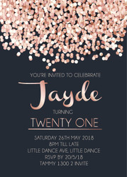 Rose Gold Pink Confetti birthday invitations