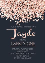 Rose Gold Pink Confetti birthday invitations