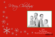 Family Christmas card made with a photo. Snowflake artwork