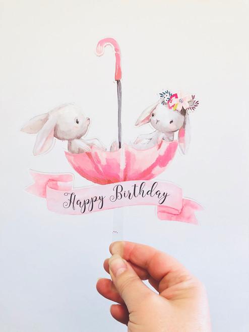 Bunny rabbits cake topper - Birthday cake decoration featuring two bunny Rabbits. Bunnies cake topper laser cut in Australia