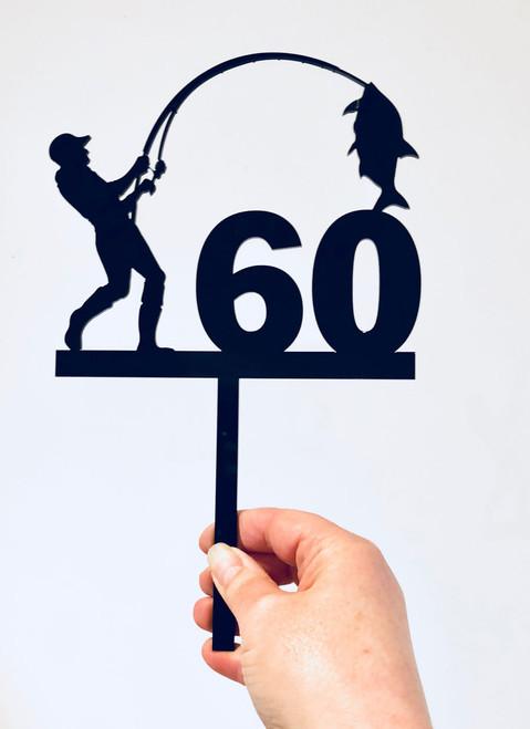 60th Birthday fishing cake topper