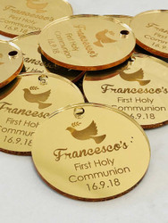 First Holy Communion Personalised Gold mirror gift tags