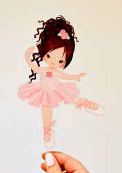 Ballerina ballet printed acrylic cake topper - Ballet or Ballerina birthday cake decoration. Made in Australia