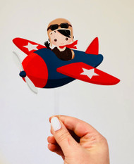 Pilot birthday cake topper - Pilot flying plane birthday cake decoration. Made from printed acrylic. Laser cut in Melbourne Australia