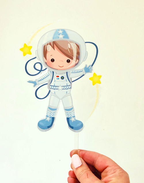 Astronaut space acrylic cake topper - Astronaut or Spaceman birthday cake decoration. Made from printed Acrylic. Laser cut in Melbourne Australia