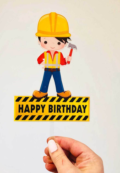 Construction worker acrylic cake topper