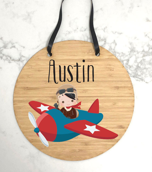Kids bedroom pilot themed door sign