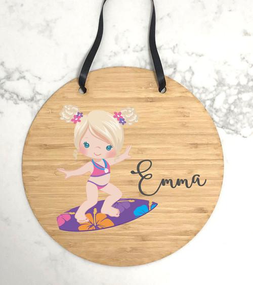 Girls surfing themed bedroom door hanger
