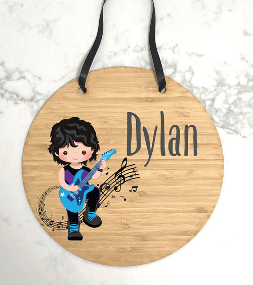 Kids bedroom guitar wall hanging