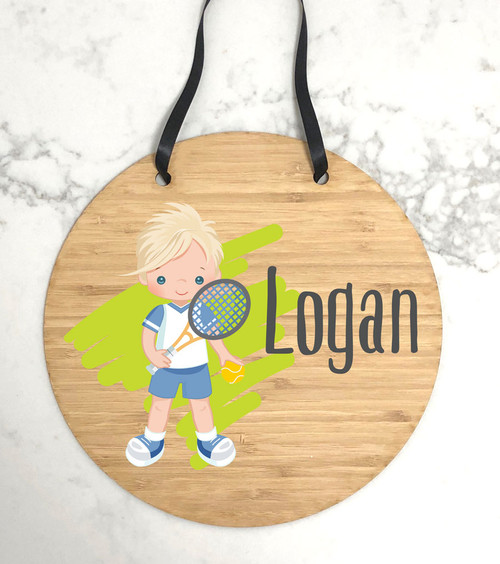 Personalised Kids Tennis Bedroom Door Plaque Signs