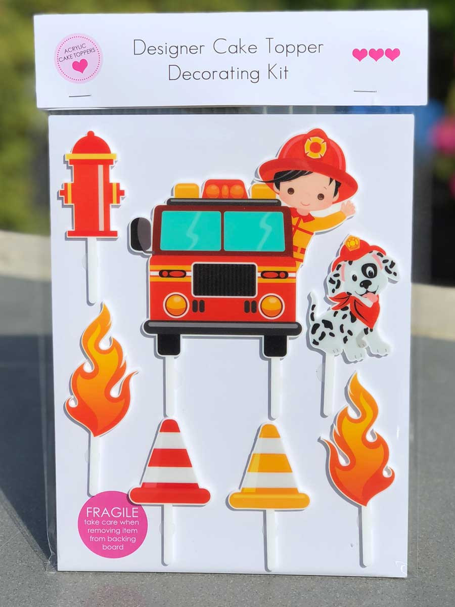 Cake Decorator Kit Fireman Firefighting Birthday Cake Decorations