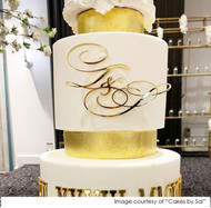 Wedding Cake Initials Decoration in Gold mirror