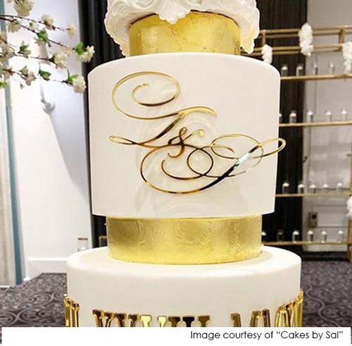 Wedding Cake Initials Decoration in Gold mirror
